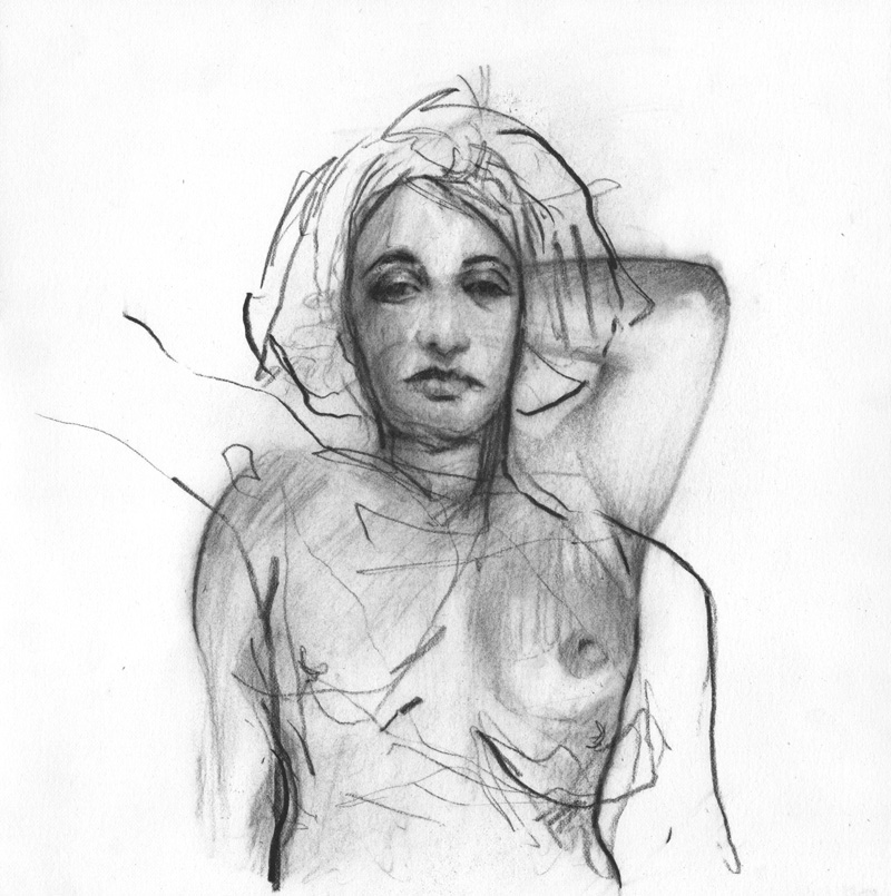Gaze Back, charcoal on Rives BFK, 2016