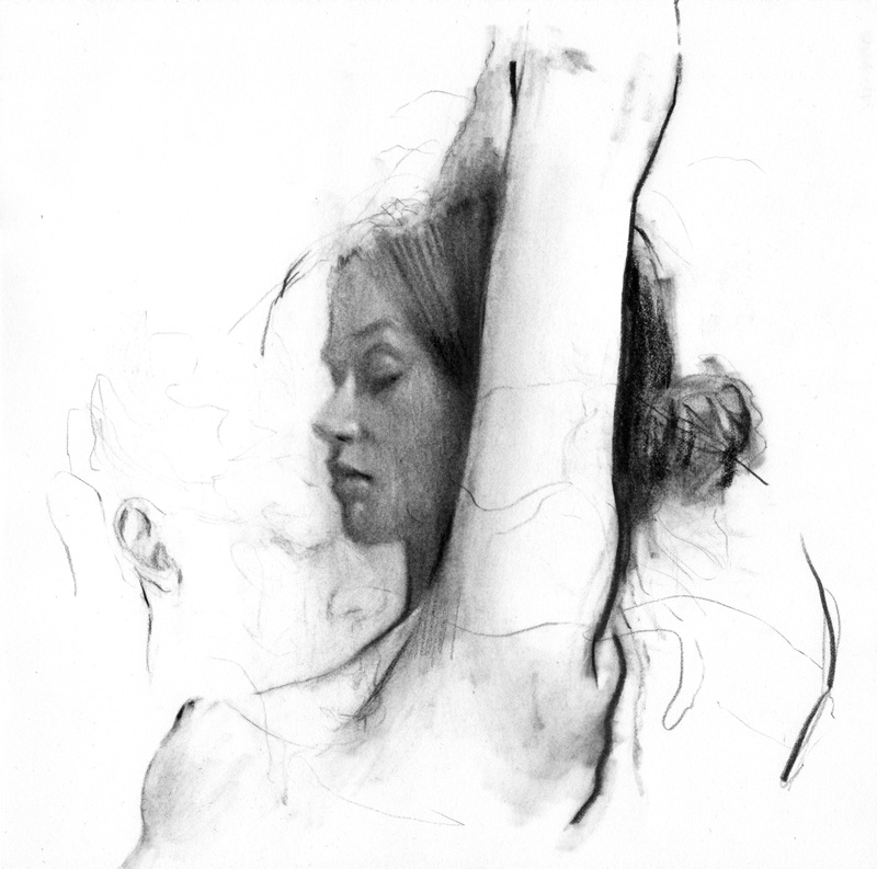 Whisper Surrender, charcoal on Rives BFK, 2016